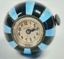 Antique Bulova Black and Blue Enamel on Silver Round Clock Pendant