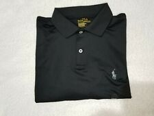 Polo Ralph Lauren Mens Performance Interlock Polo Shirt Black/Gray Pony Medium