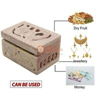 "3""x2"" Soapstone Jewelry Vintage Box Elephant Inlaid Design Handicraft Gift Decor"