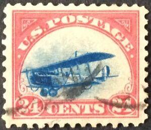 1918 24c Curtiss Jenny Airmail Single, Scott #C3, Used, VF
