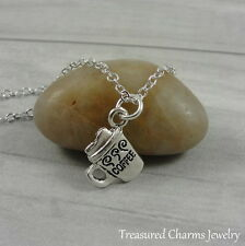 Silver Coffee Mug Charm Necklace - Coffee Cup Hot Beverage Pendant Jewelry NEW