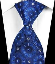 New Classic Patterns Blue White JACQUARD WOVEN 100% Silk Men's Tie Necktie