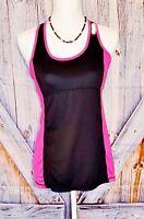 REEBOK Womans ATHLETIC Workout BLACK/PINK Shirt Stretch Racerback Top size M