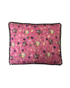 "17""x14 Vintage style Pink Floral Black pompom trim scatter cushion covers sham"