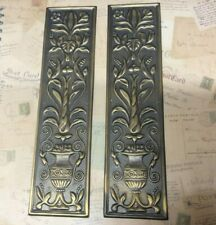 Reclaimed Solid Brass Door Finger Plates Antique finish long style 2 plates
