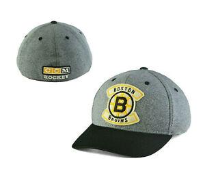 NHL BOSTON BRUINS CCM Applique Structured Stretch Fit Baseball Hat Cap L/XL