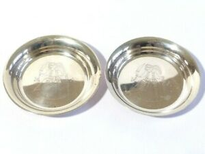 2 x 830 Silver Small Circular Dishes Maxwell & Louisa 5.5.2001 Norway Pictorial