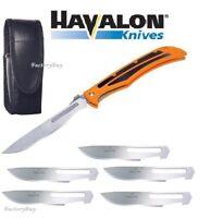 Havalon Knives Baracuta Blaze Skinning Folding Knife Orange + Blades 115BLAZE