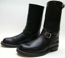 MENS WESCO CUSTOM BLACK LEATHER ENGINEER MOTORCYCLE SOFT TOE WORK BOOTS 10 D