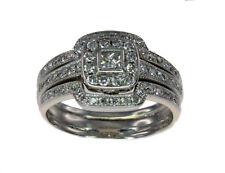 10k White Gold Halo Diamond Cluster Engage./Wedd/Anniv. 3 Ring Bridal Set #51481