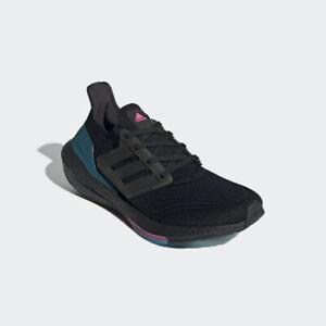 Men's Adidas UltraBoost 21 Running Shoes Black / Carbon / Teal Sz 10 FZ1921