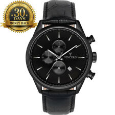 Original Vincero Men's Wrist Watch Chronograph Black Leather Strap 12 Hour Dial