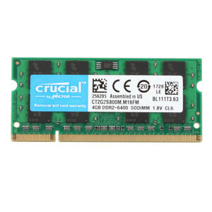NEW Crucial 4GB PC2-6400S DDR2 800 MHz 200pin RAM SO-DIMM Laptop Memory NON ECC