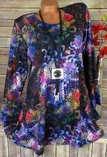 Leins Tunika Bluse Kleid Shirt Lagenlook A-Form Longshirt Weich Bunt XXL 46 48