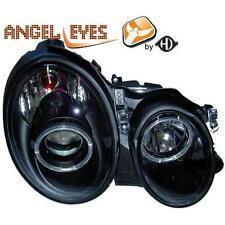 Coppia fari fanali anteriori TUNING MERCEDES Classe E W210 95-99 neri angel eyes