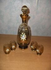 Vintage Murano Hand Blown Clear&Gold & Flowers Cordial Decanter Glasses Italian