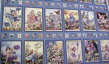Periwinkle Flower Fairies Fabric Blue Panel Block Post Card Squares Barker