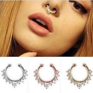 Fake Septum Clicker Nose Ring Non Piercing Hanger Clip On Rhinestone Jewelry