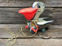 VINTAGE 1960'S FISHER PRICE #794 PULL TOY BIG BILL PELICAN WOODEN