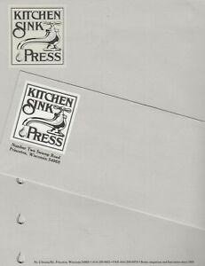 DENIS KITCHEN - KITCHEN SINK PRESS NEW 1981 STATIONERY - LETTERHEAD & ENVELOPE