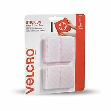 2x VELCRO® Brand STICK ON HOOK & LOOP TAPES 25x50mm 6Pcs Adhesive Backed WHITE