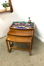 70s Vintage Retro Mid Century nest of tables with bold bright Hummingbird motif