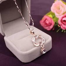 Fashion Copper Silver Women Double Love Heart Pendant Necklace Chain Jewelry