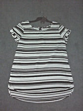 Katies: Size: 10. Modern Design Black/White Stripped, Soft Edge Cuff-Sleeve, Top