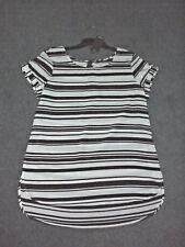 Katies: Size: 10. Modern Design Black/White Stripped, Soft Edge Cuff-Sleeve, Top