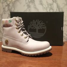 """Timberland Womens 6"""" Inch Premium Boots Leather White Grey Pink TB0A1QOG. SZ:8.5"""