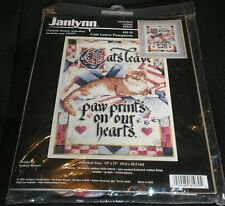 Janlynn CATS LEAVE PAWPRINTS Counted Cross Stitch Kit 81-30 Tabby Kitty NEW 1997