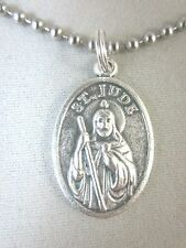 """Silver Plated St Jude Medal Italy Pendant Necklace 24"""" Stainless Ball Chain"""