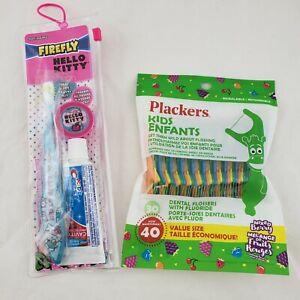 Plackers Kids Easy Grip Dental Flossers Hello Kitty Travel Toothbrush  & Paste
