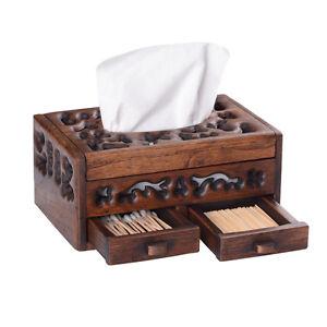 Vintage Handmade Teakwood Tissue Box Cover Chic Napkin Case Holder Hotel Home