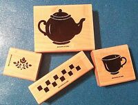 Stampin Up Definitely Decorative Teapot 1996 4 Pc Rubber Stamp Set  VGUC RETIRED