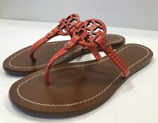 Tory Burch Mini Miller Orange/Red Leather Thong Sandals Flats Slides Sz 6 M
