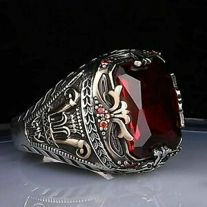 Solid 925 Sterling Silver Turkish Handmade Jewelry Ruby Men's Ring Size 10.5