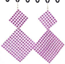 "Super Big Huge Dangle Earrings Fuchsia Square Sparkle Mesh 5"" Long Lightweight"