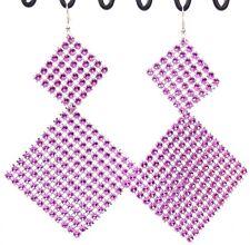 "Super big huge dangle earrings fuchsia square sparkle mesh 5"" long lightweight"