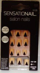 1 Box SENSATIONAL Salon Nails 28 Short Glue-on Beige & Black Geometric #72146