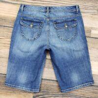 Tommy Hilfiger women's 8 (measure 31x12) jeans shorts dark blue Bermuda Distress