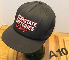 VINTAGE INTERSTATE BATTERIES RACING HAT BLACK SNAPBACK USA MADE GOOD COND A10