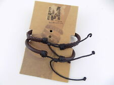 Rogue Accessories Men 2-Pc. Woodburn Bracelet Brown Leather Smooth & Braided C12