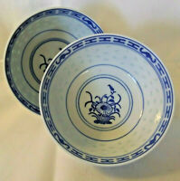 (2) Vintage Chinese Rice Eye Bowls -  Blue & White - Porcelain