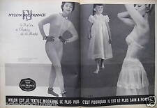 PUBLICITÉ 1958 NYLON NYLFRANCE PYJAMA COLLANT CHEMISE DE NUIT - ADVERTISING