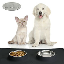 """Large Pet Food Mat 24"""" x 16"""" Dog or Cat with Stainless Steel Bowls"""