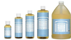 NEW Dr. Bronner's Pure-Castile Soap Liquid Hemp Baby Unscented All Size Bronners