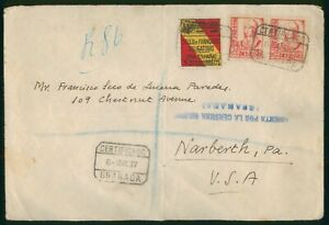 Mayfairstamps Spain 1937 Blue Censor Certified to Narberth Pennsylvania cover ww