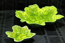 California Pottery Bright GREENS YELLOW LEAF DISH SET CHIPS VEGGIES & DIP RETRO