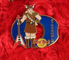 Hard Rock Cafe Pin STOCKHOLM Viking Girl Letter O blonde Helmet logo costume